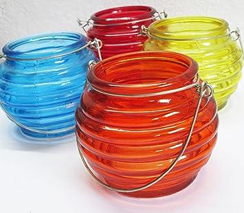 Teelichthalter Windlicht Glas mit Draht-Bügel, farblich sortiert ...