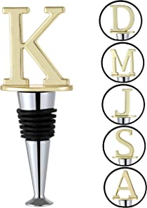 Wine and Beverage Letters Wine Stopper Stainless Steel Food Grade Silicone Stopper Wedding Birthday Party Keep Wine Fresh (Letter k)