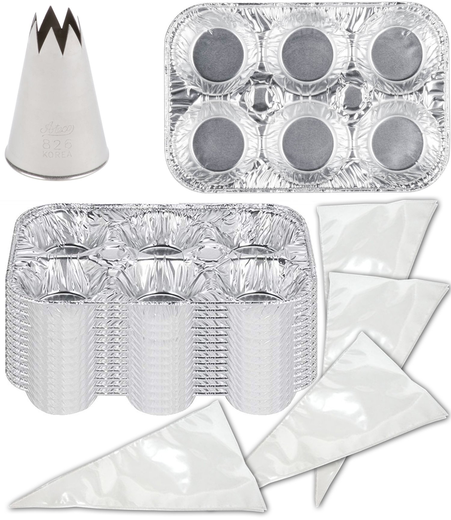 Tin Cupcake Muffin Pan Decorating Kit Stainless Steel Tube Piping tip + 10 Pastry Bags + Cupcake Muffin Tin 25 Party Baking Pack