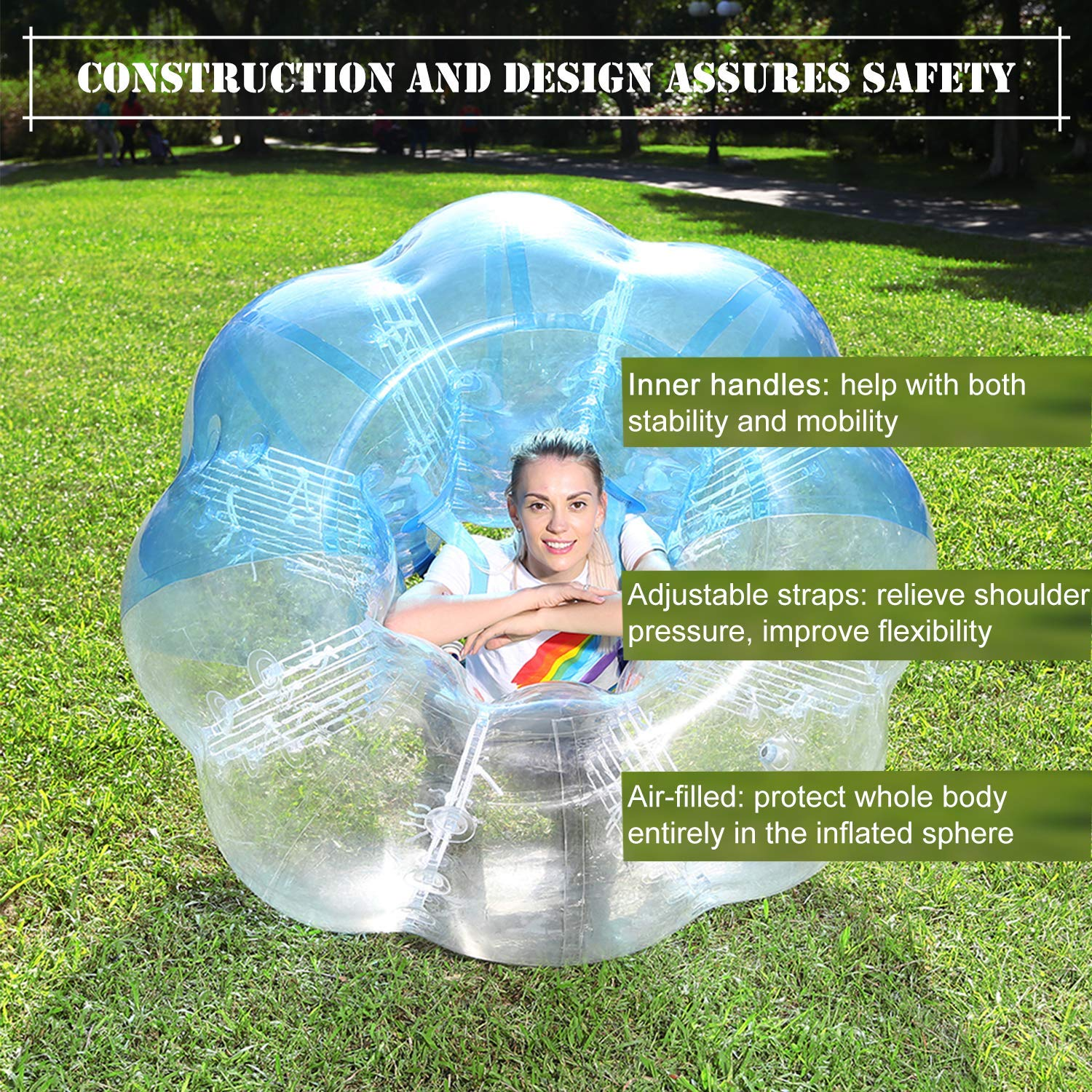 Inflatable Bumper Balls for Adults//Kids Bumper Bubble Soccer Ball W//Ultra Thick PVC Human Hamster Ball 5 ft //4 ft