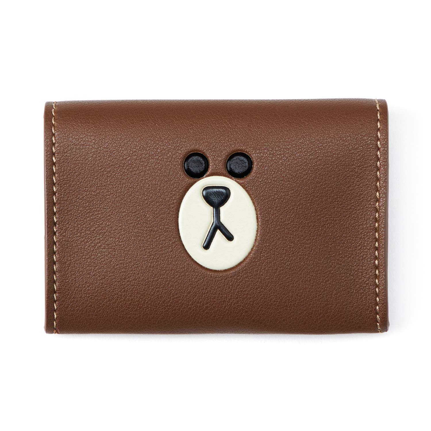 Line Friends Business Card Holder - BROWN Character Design Faux Leather Organizer Case and Wallet, Brown by LINE FRIENDS