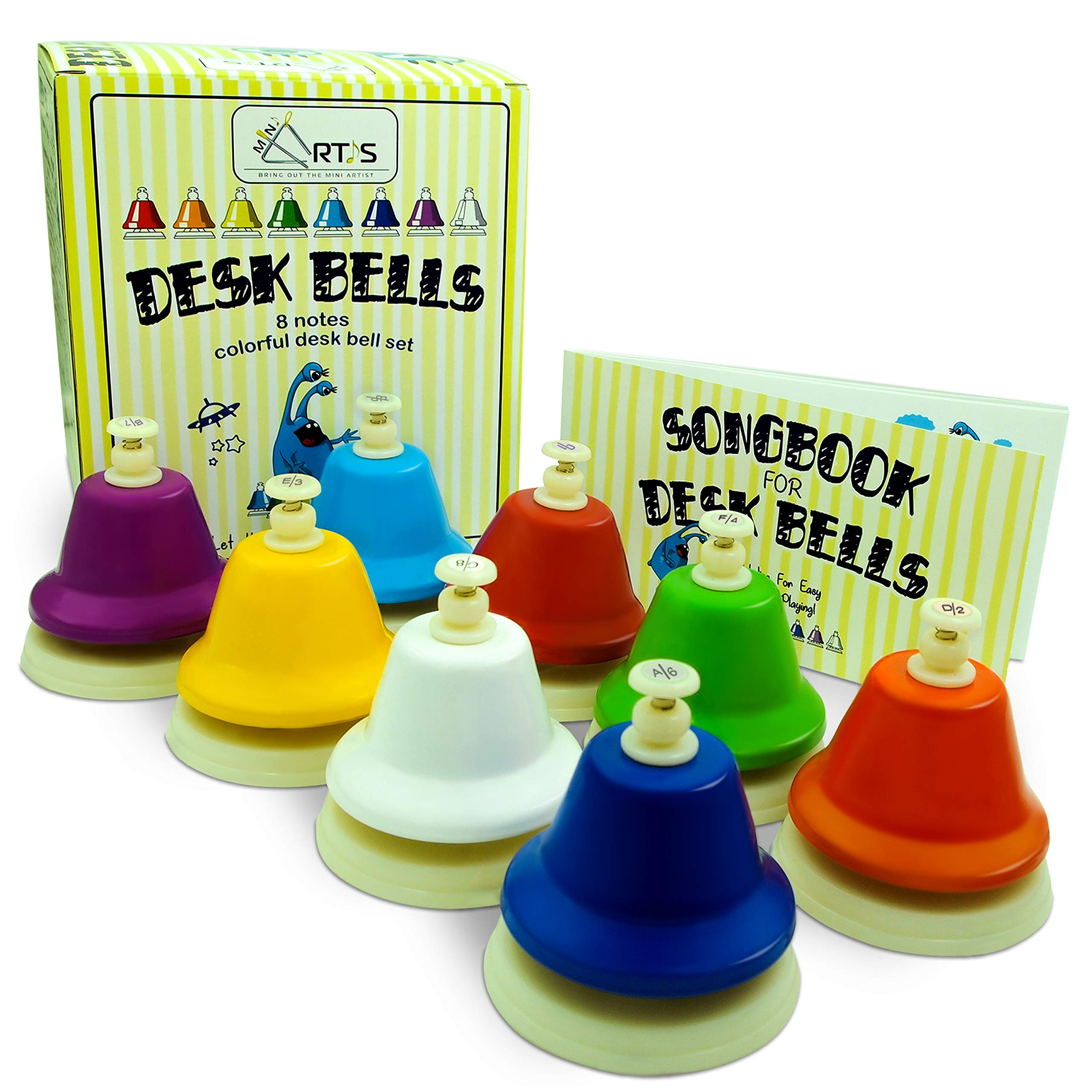 MiniArtis Desk Bells Set for Kids | 8 Notes Diatonic Colorful Metal Hand Bells | Hit on Top Feature | Musical Songbook & Carry Case Included | Great Holiday Birthday Gift for Children