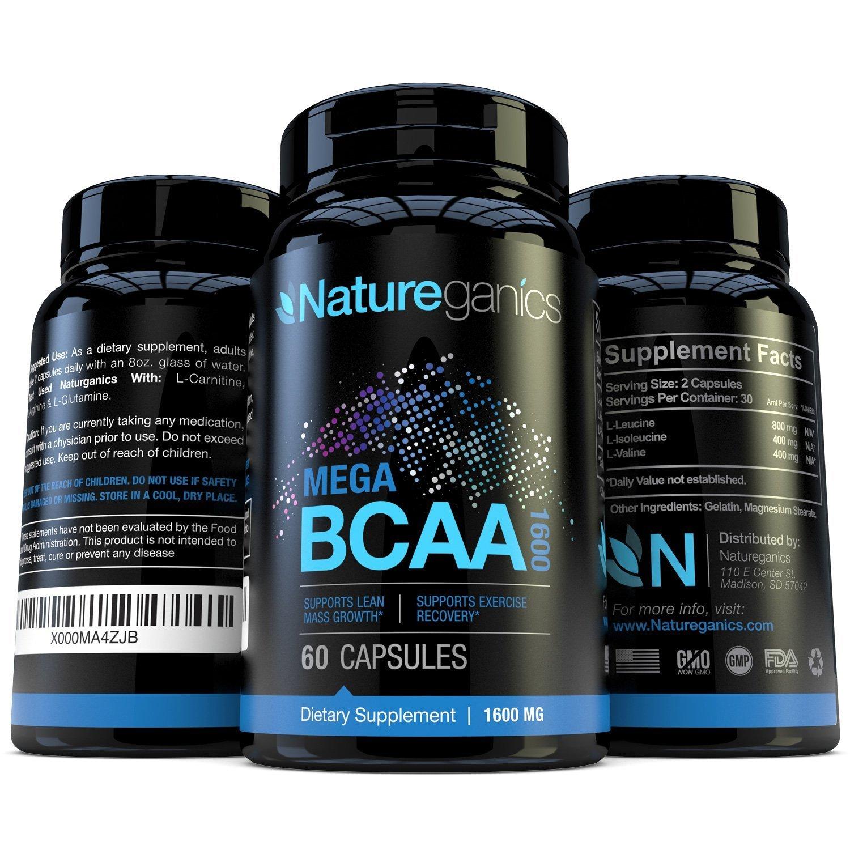 Natureganics MEGA BCAA Amino Acids Dietary Supplement, 1600 mg, 60 Capsules 3 Pack