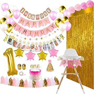 Amazon.com: ReignDrop - 133 pancartas de primer cumpleaños ...
