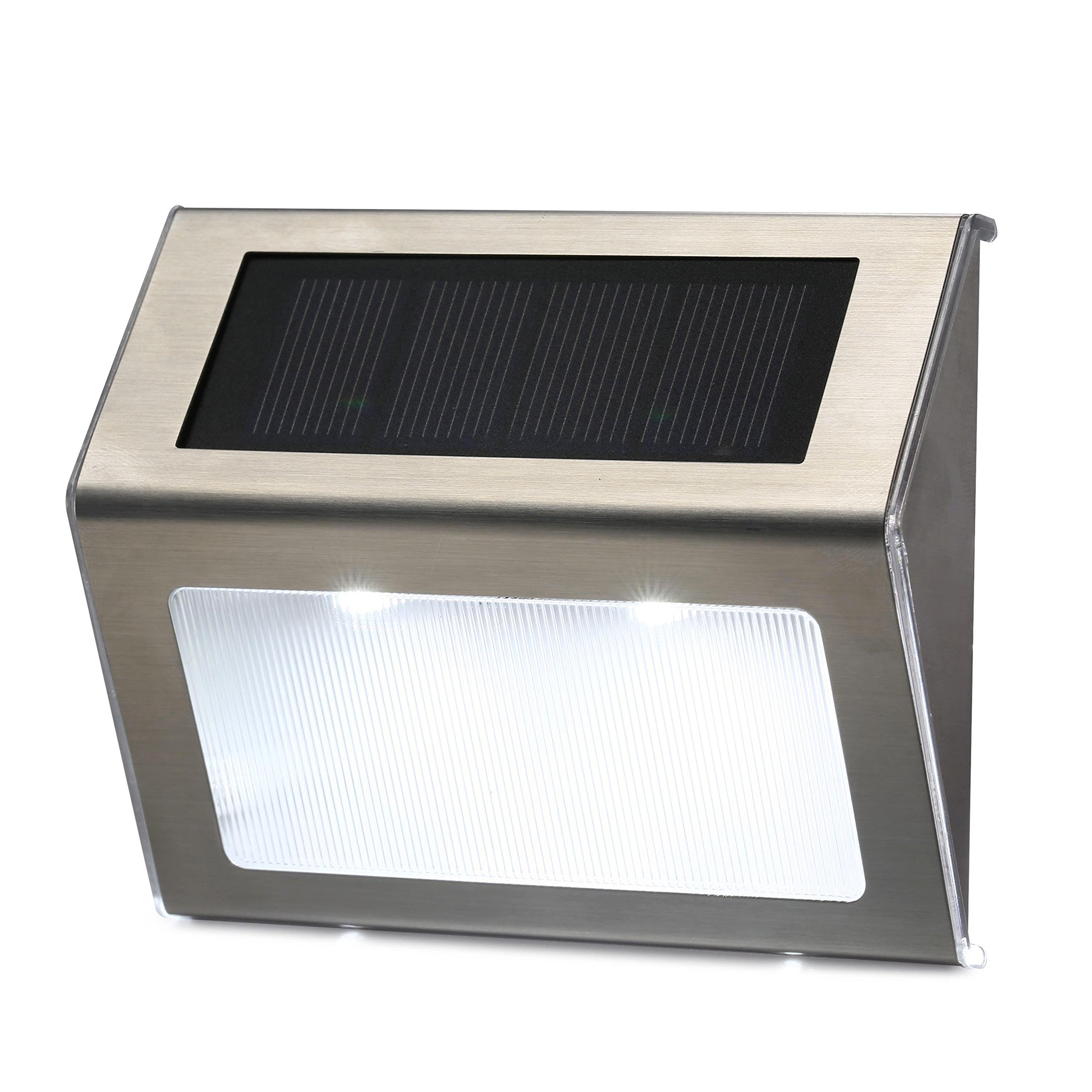 Lampmall Solar Step Lights Led Stair Lighting Stainless Steel Outdoor Waterproof Lamp for Deck, Patio, Garden, Yard with Auto on Off (10 Pack)
