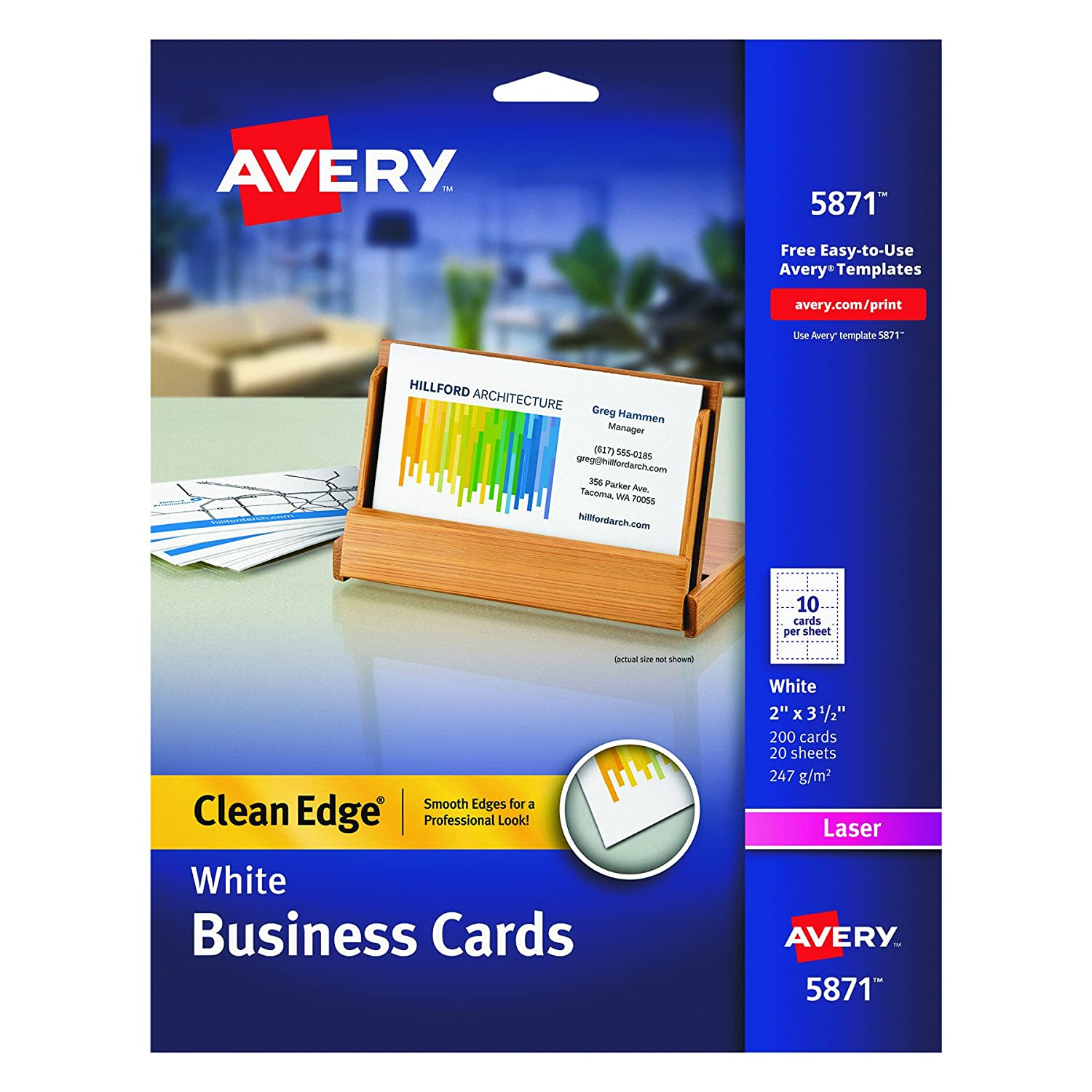 Amazon.com : Avery Printable Two-Side Clean-Edge Business Cards ...