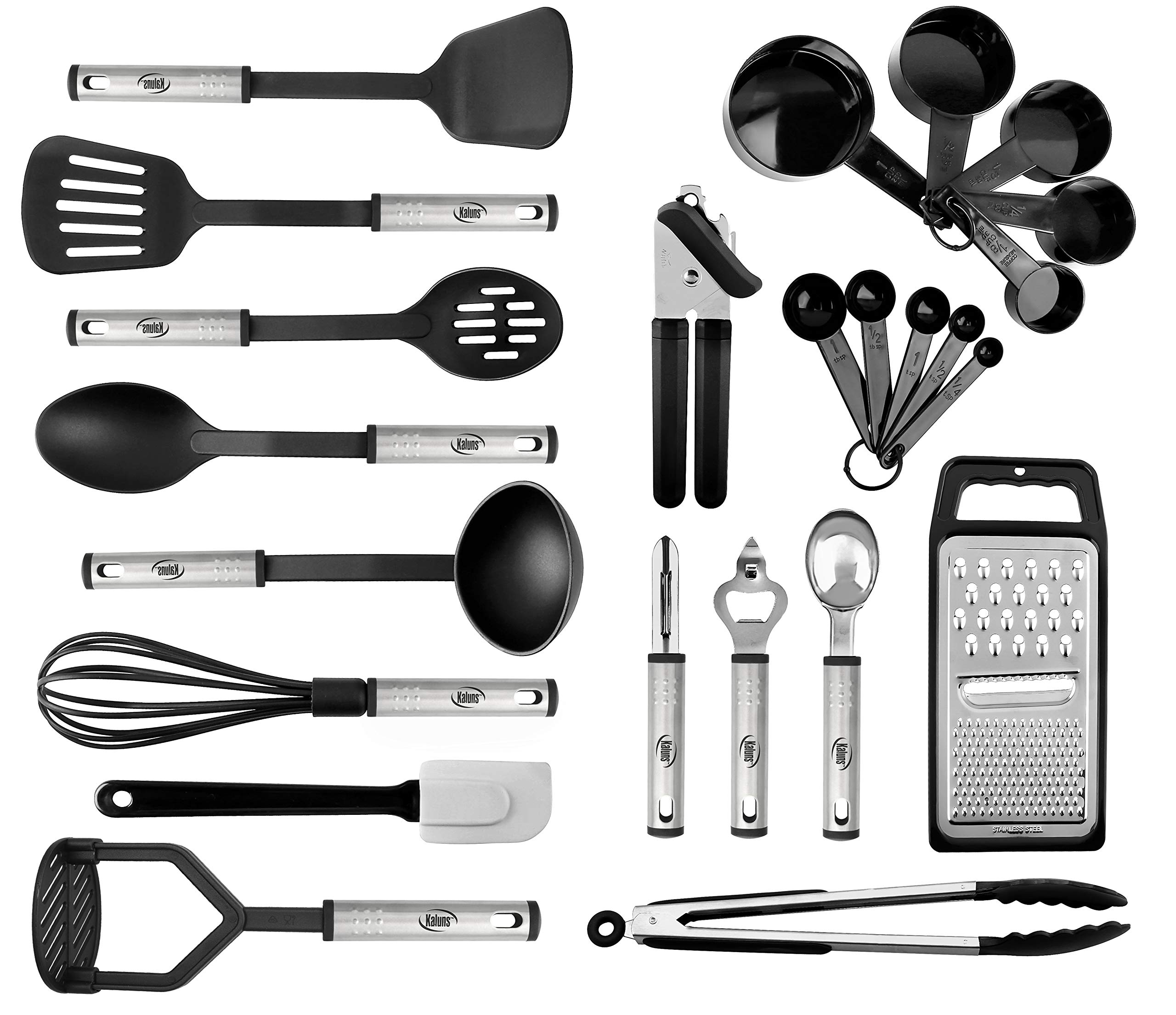 Kitchen Utensil set - 24 Nylon Stainless Steel Cooking Supplies - Non-Stick and Heat Resistant Cookware set - New Chef's Kitchen Gadget Tools Collection - Best for Pots and Pans - Great Holiday Gift by Kaluns