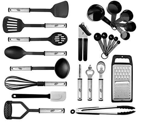 Kitchen Utensil set - 24 Nylon Stainless Steel Cooking Supplies - Non-Stick  and Heat Resistant Cookware set - New Chef\'s Kitchen Gadget Tools ...