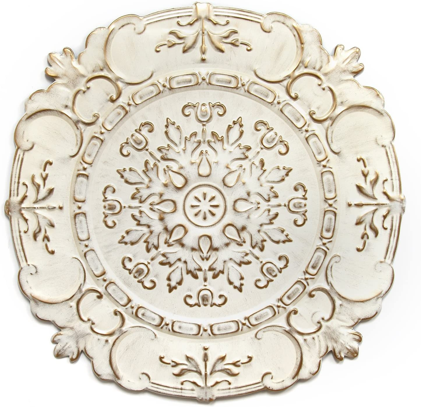 Stratton Home Decor White European Medallion Wall Decor, 30.50 W X 0.50 D X 30.50 H
