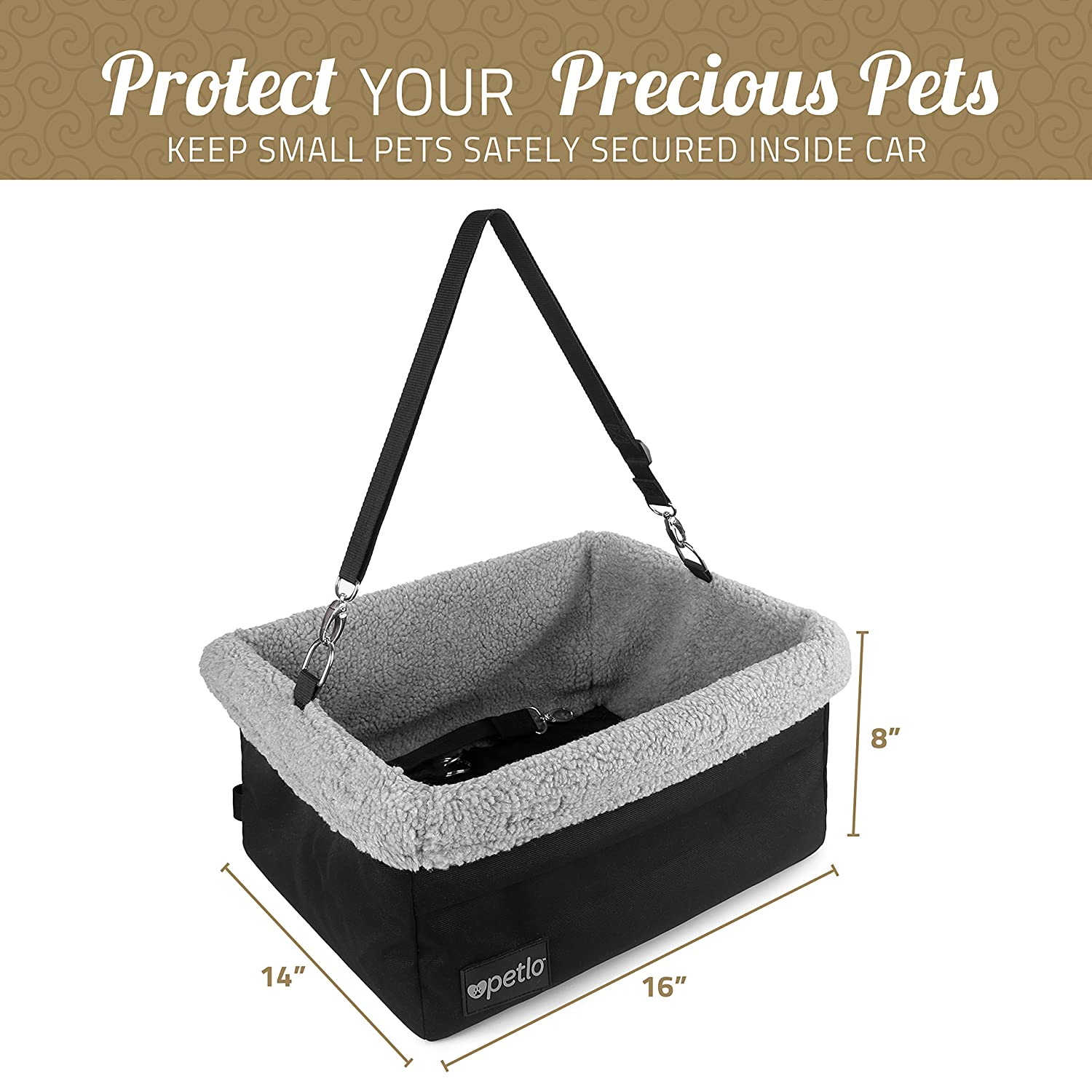 Dog Car Seat,Pet Car Booster Front Seat Carrier with Removable Cover Safety Leash for Small and Medium Pets Cat Up to 30 Lbs