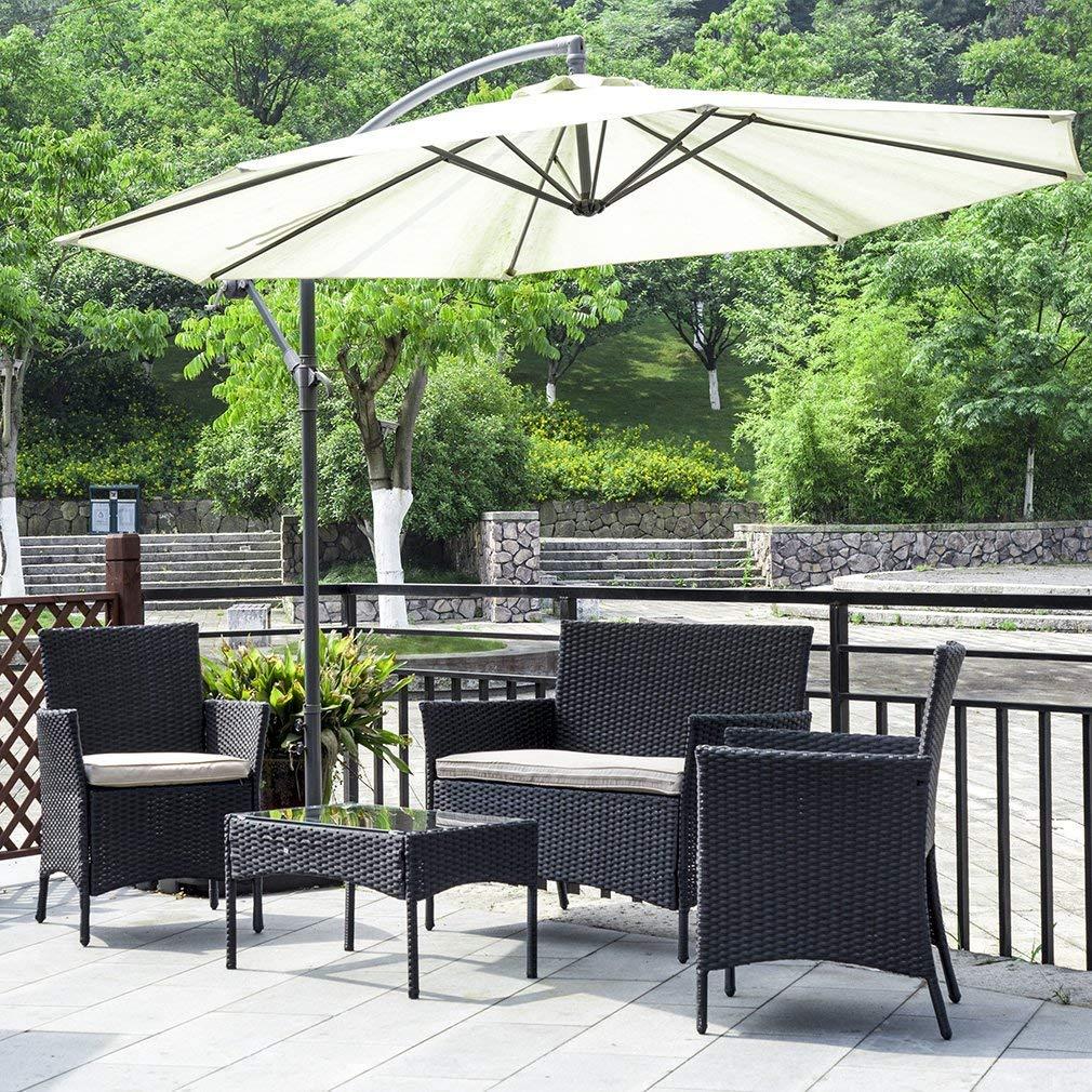 Amazon com patio wicker sofa 4pcs outdoor furniture set garden rattan conversation set cushioned with coffee table bistro sets for yardpool or backyard