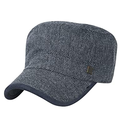 cca1aa4a03a ililily Large Size Solid Color Military Army Hat Wool-Blend Vintage Cadet  Cap