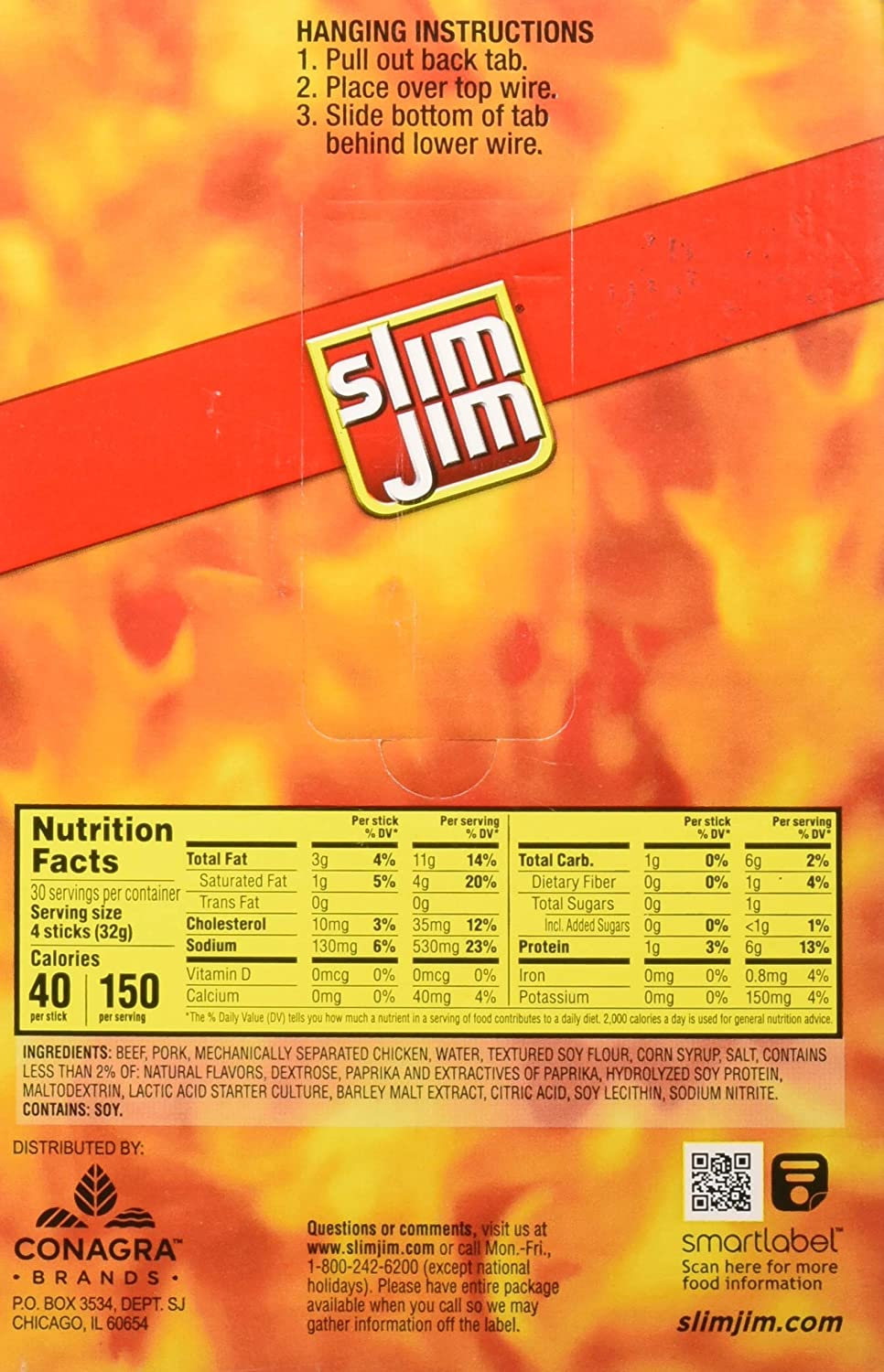 Slim Jim - Palos de snack originales, 0,28 once, 14 unidades ...