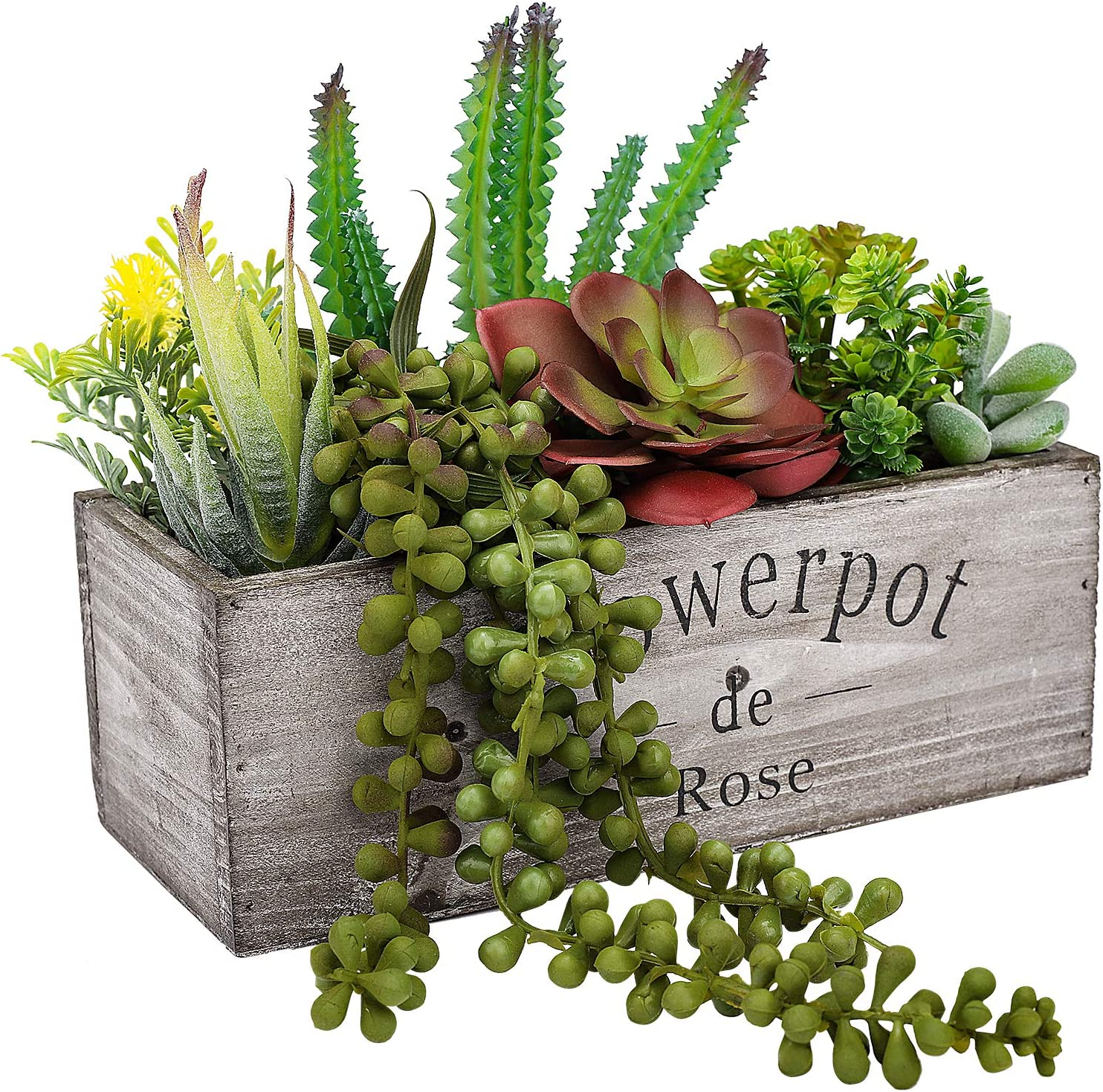 Hopewood Artificial Pre Made Succulent Wood Planter Arrangement Artificial Succulents Plants In Pots For Wood Table Top Mixed Assembled Artificial Plants For Home Office Garden Centerpiece Decor Kitchen Dining