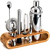 SKY-TOUCH 11-Piece Bar Tool Set with Stylish Bamboo Stand - Perfect Home Bartending Kit and Martini Cocktail Shaker Set…