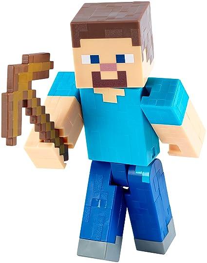 amazon com mattel minecraft steve with pickaxe 5 figure toys games