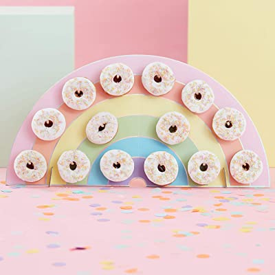 Ginger Ray Rainbow Kids Party Donut/Doughnut Wall Alternative Birthday Cake Stand- Holds 14 Donuts - Pastel Party: Toys & Games