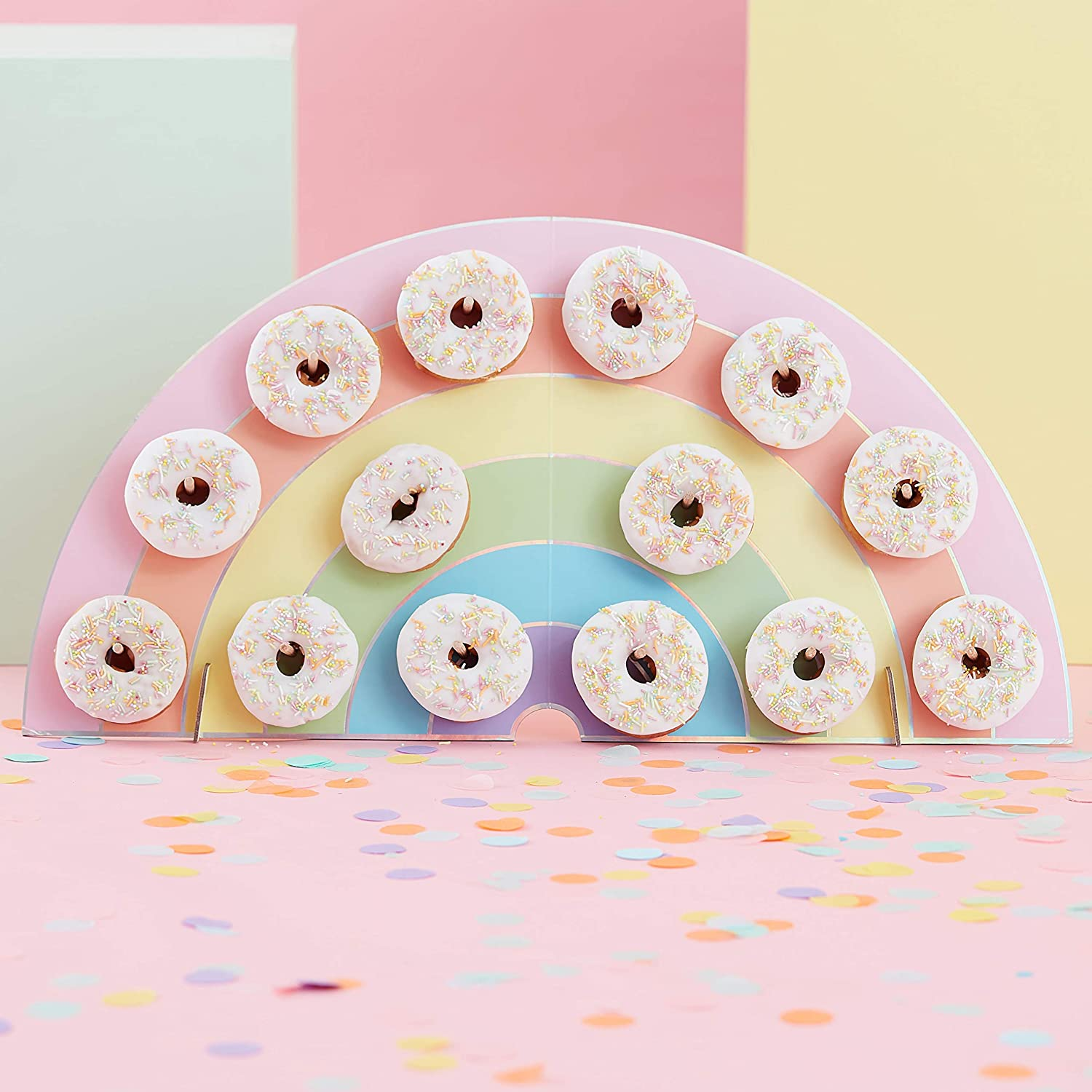 Ginger Ray Rainbow Kids Party Donut/Doughnut Wall Alternative Birthday Cake Stand Hold 14, One Size