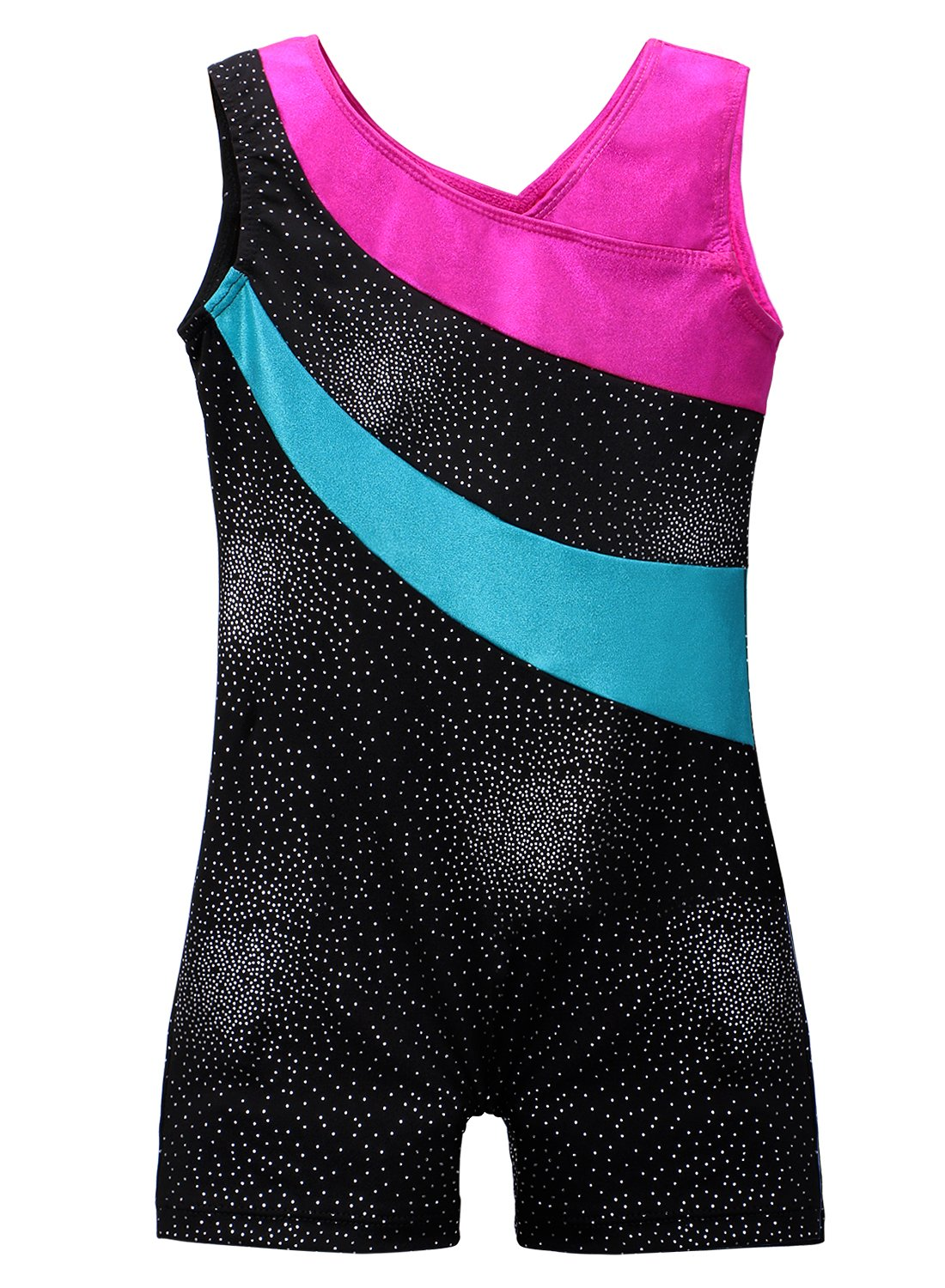 DAXIANG One-Piece Colorful Ribbons Gymnastics Leotard Sleeveless Dance Unitards for Little Girl (100(3-4Y), Black) by DAXIANG (Image #1)