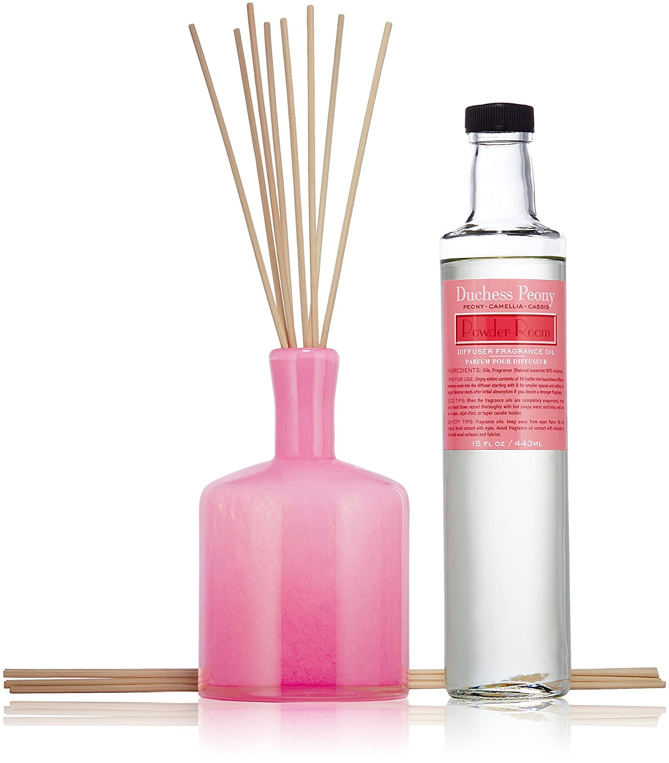 LAFCO New York Signature Scented Reed Diffuser, Duchess Peony, Powder Room  (15fl. oz)