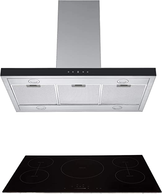 Cookology IDLINT901BK Touch Control 90cm Black Linear Island Chimney Cooker Hood