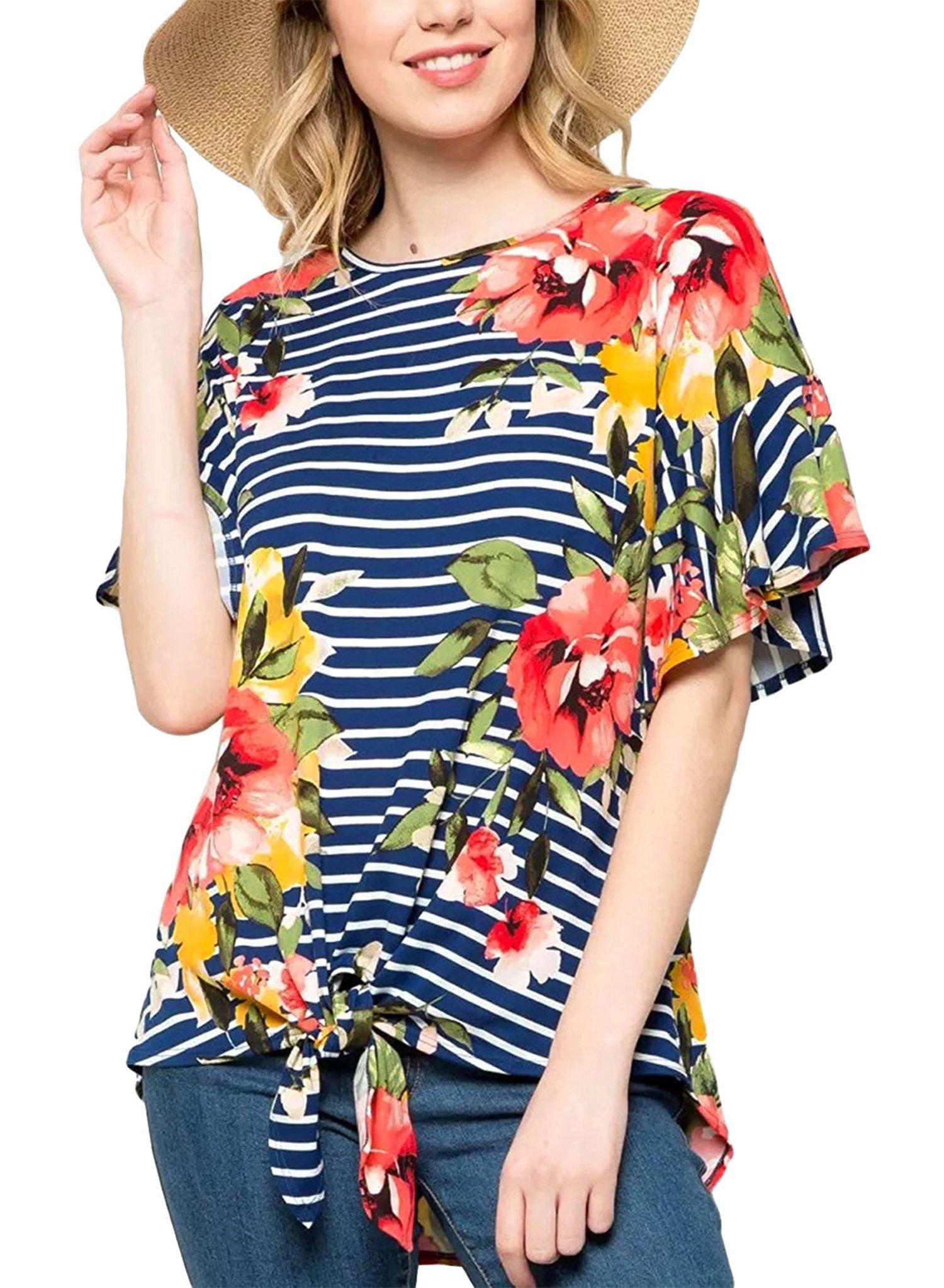 ZEAMO Women Fashion Casual Stripe Juniors Tops Shirts (X-Large, Navy Blue)