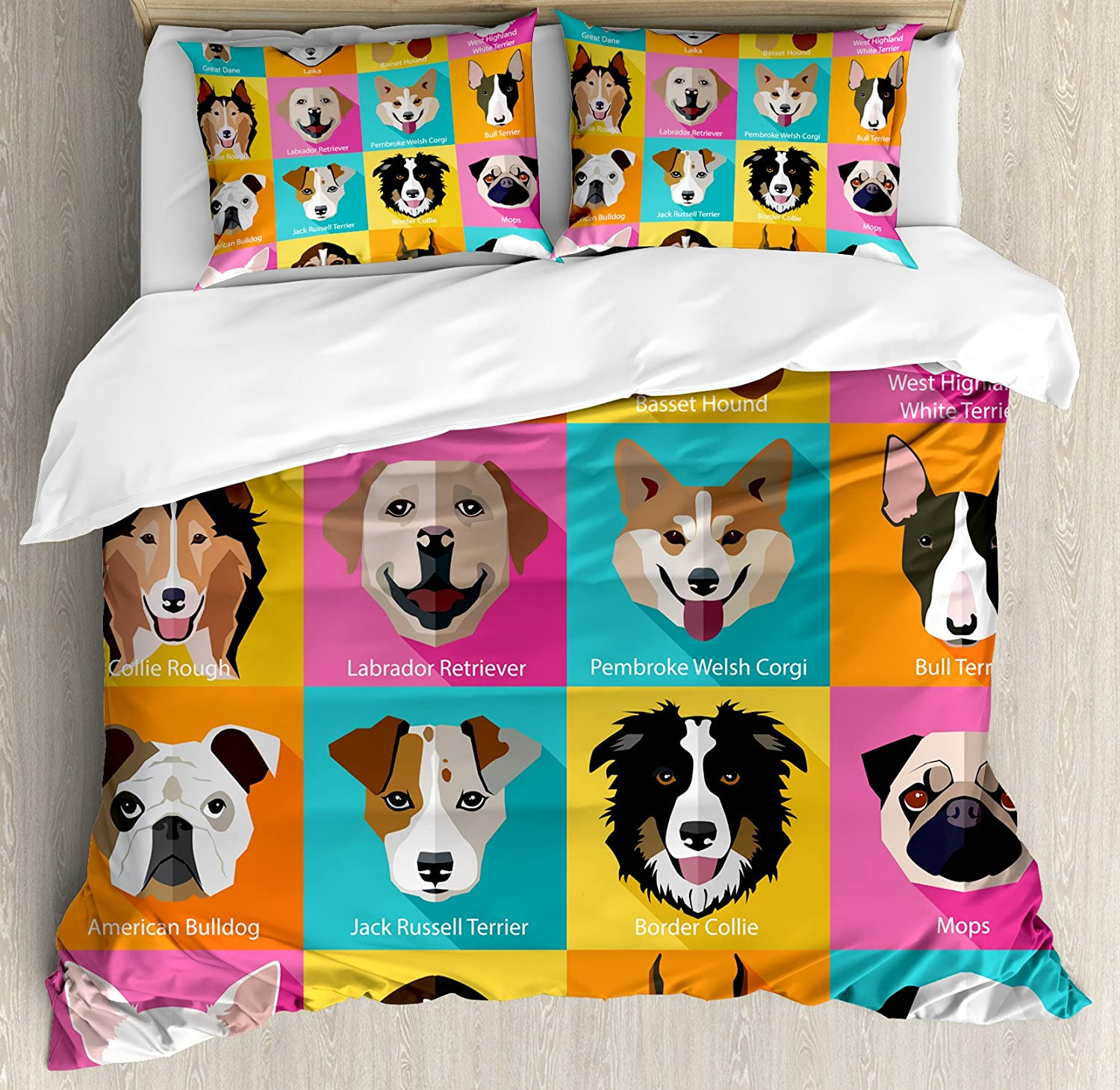 Ambesonne Kids Duvet Cover Set Queen Size, Pattern with Dogs Retro Popart Style Bulldog Hound Cartoon Print Art for Dog Lovers, Decorative 3 Piece Bedding Set with 2 Pillow Shams, Pink Blue Yellow
