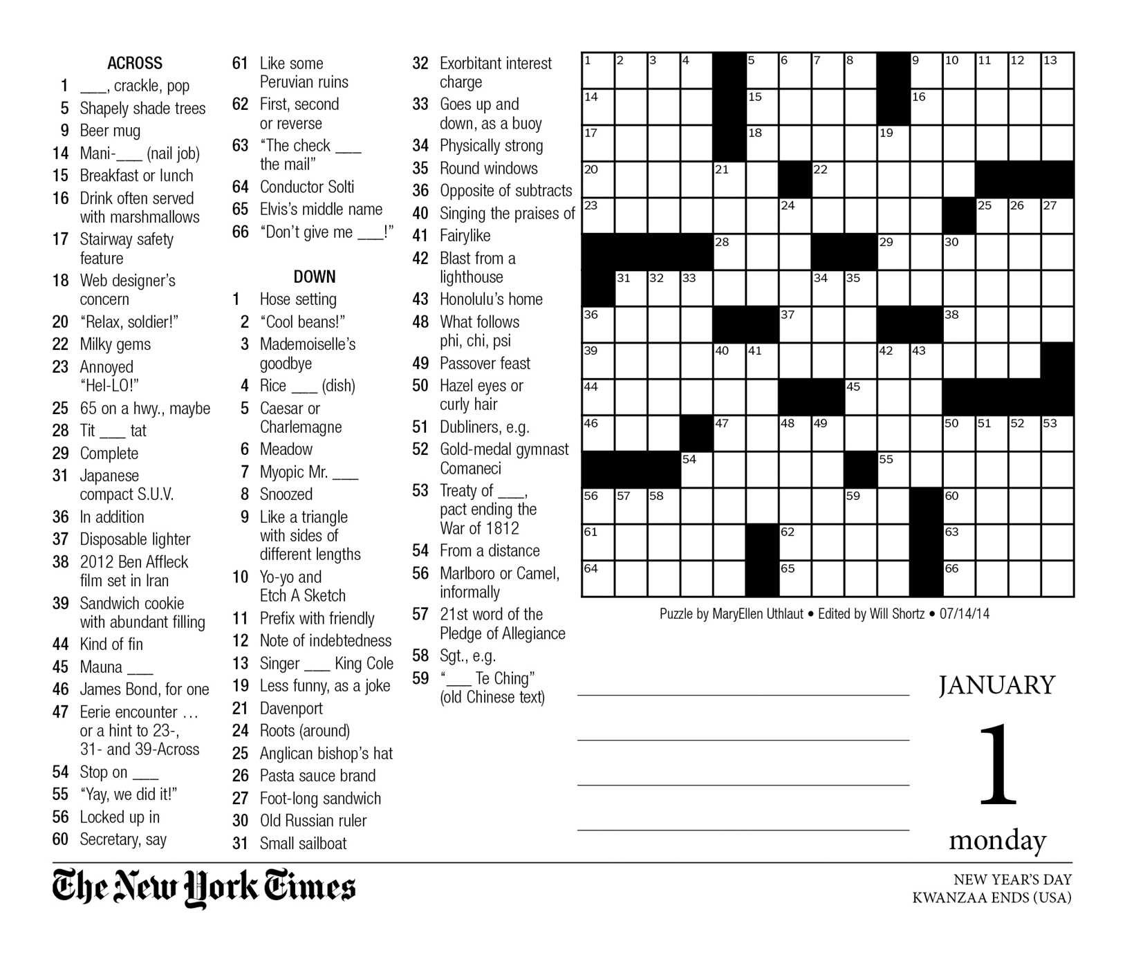 graphic regarding Printable Ny Times Crossword Puzzles referred to as The Clean York Periods Crosswords 2018 Working day-toward-Working day Calendar: The