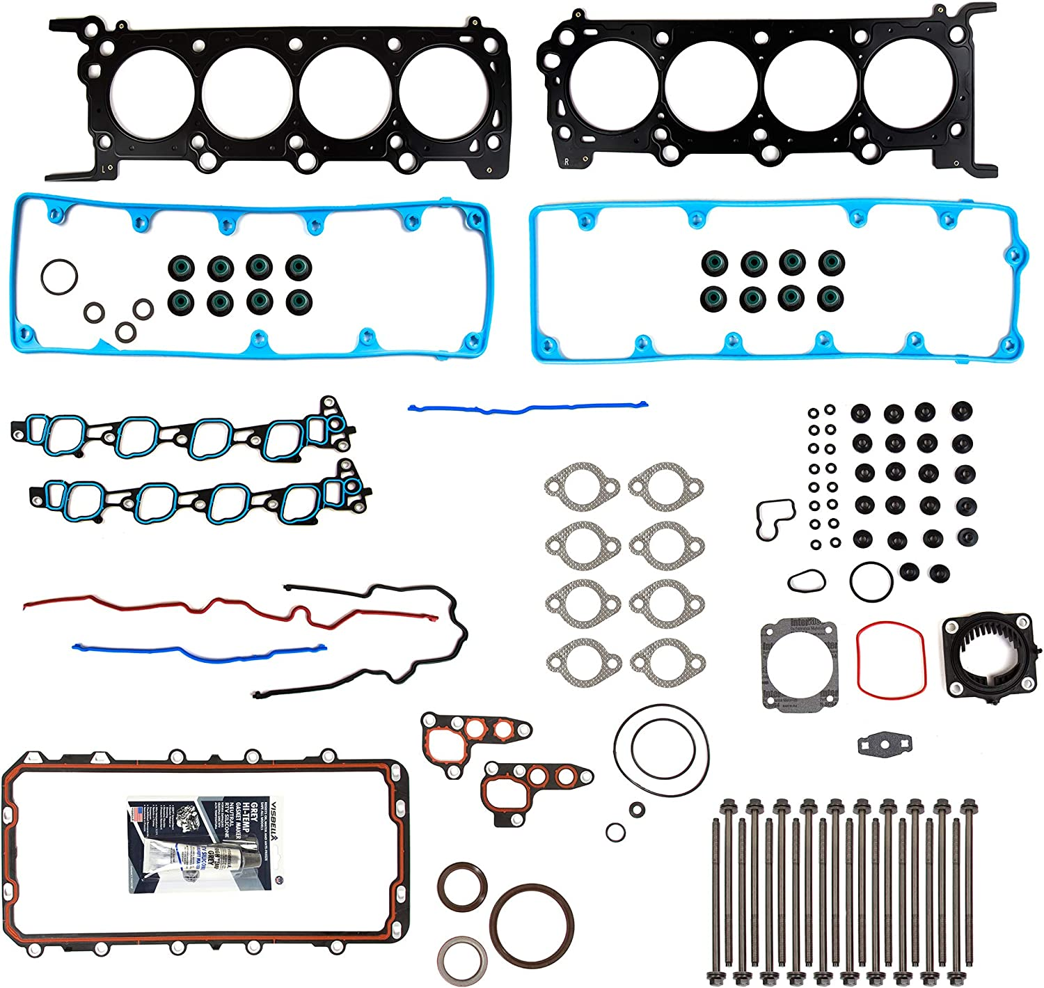 Evergreen FSHB8-21212 Full Gasket Set Head Bolts Fit 2009-2011 Ford Crown Victoria Lincoln Mercury 4.6