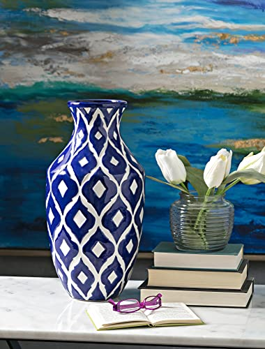IMAX 89694 Maine Vase, Tall, Blue and White