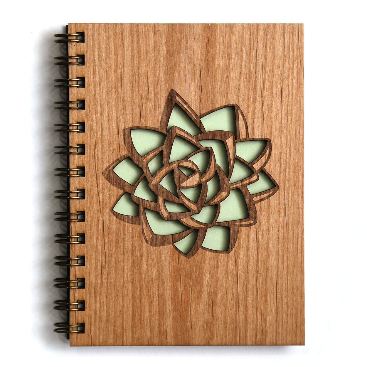 Succulent Laser Cut Wood Journal (Notebook/Birthday Gift/Gratitude Journal/Handmade)