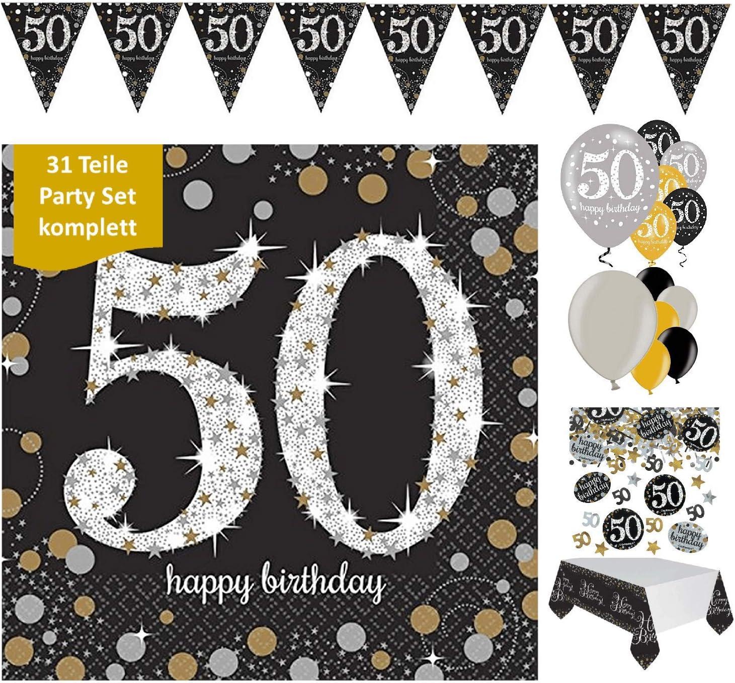 Wimpelkette  50  gold 10m   Geburtstag Jubiläum Feier Hängende Dekoration Neu