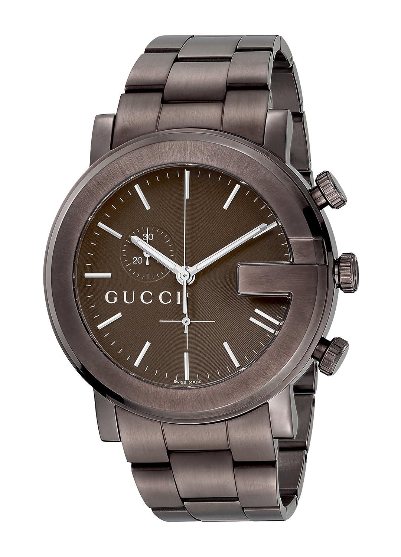 Gucci YA101341 - Reloj de cuarzo para hombre, con correa de acero inoxidable, color marrón: Amazon.es: Relojes