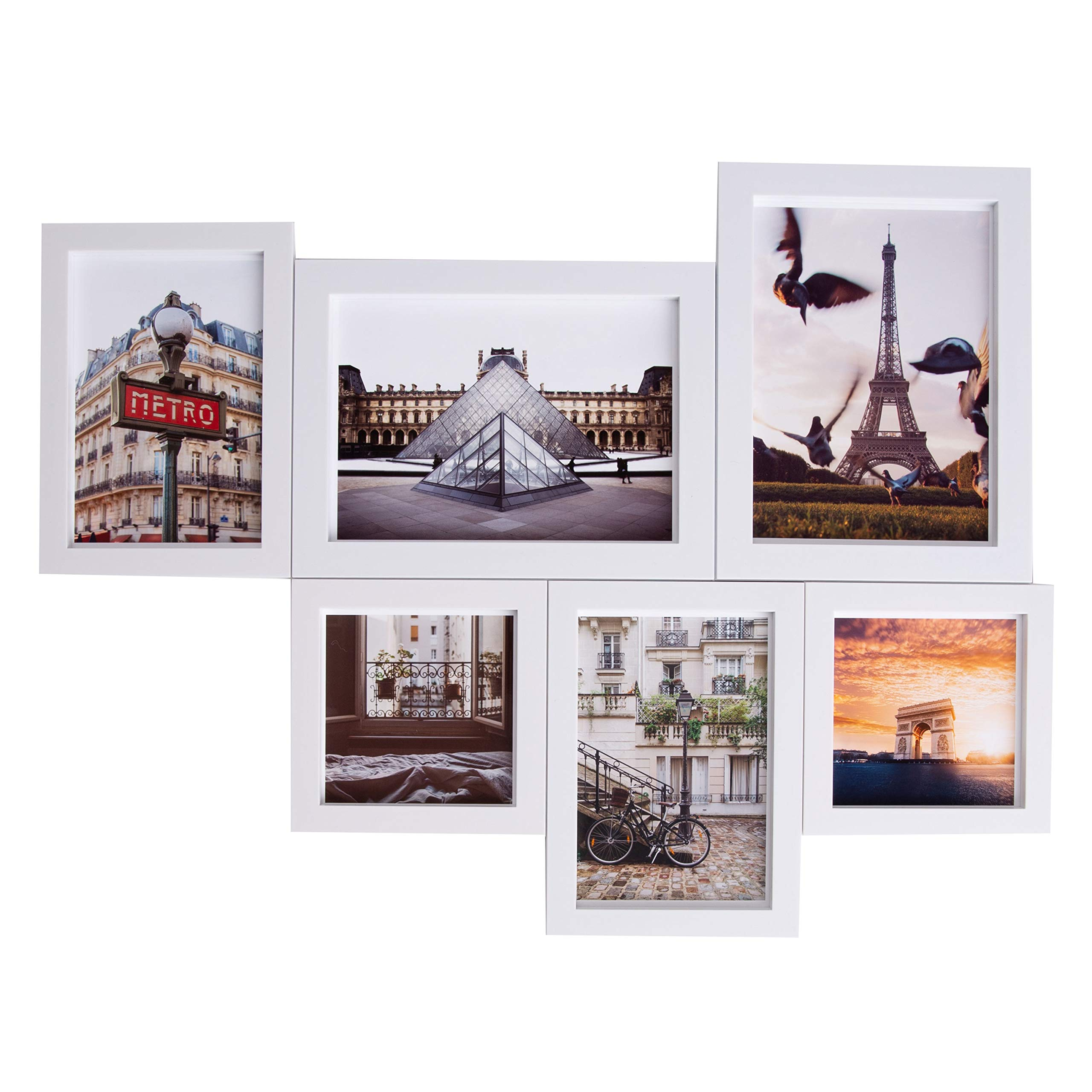 MAGNAFRAME - Multipack Magnetic Picture Frame Gallery (4x4, 4x6 & 5x7) - 6 Pack (White)