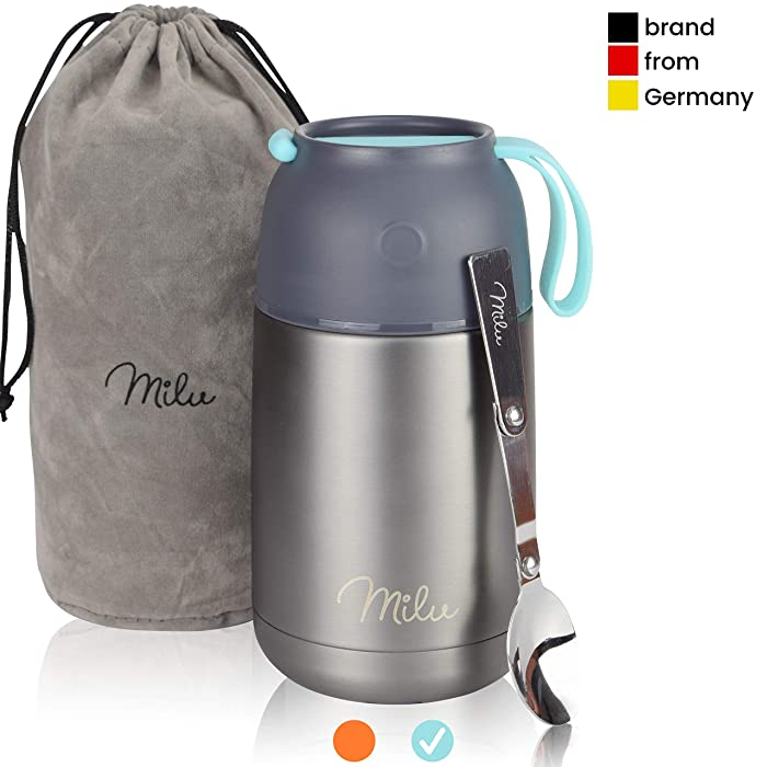 Milu Thermos Food Jar with Folding Spoon 15,2 oz / 22 oz Double Wall Insulated Stainless Steel Food Containers Wide Mouth Lunch Box for Hot & Cold Food for Kids Adults Babys - Gray/Blue 22 oz