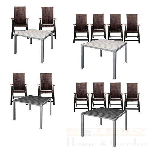 Estexo - Juego de mesa de jardín aluminio WPC 90 x 90, 2/4 sillas ...