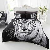 Tigre blanc Housse de couette pour lit simple Parure de lit avec housse de couette et taie d'oreiller