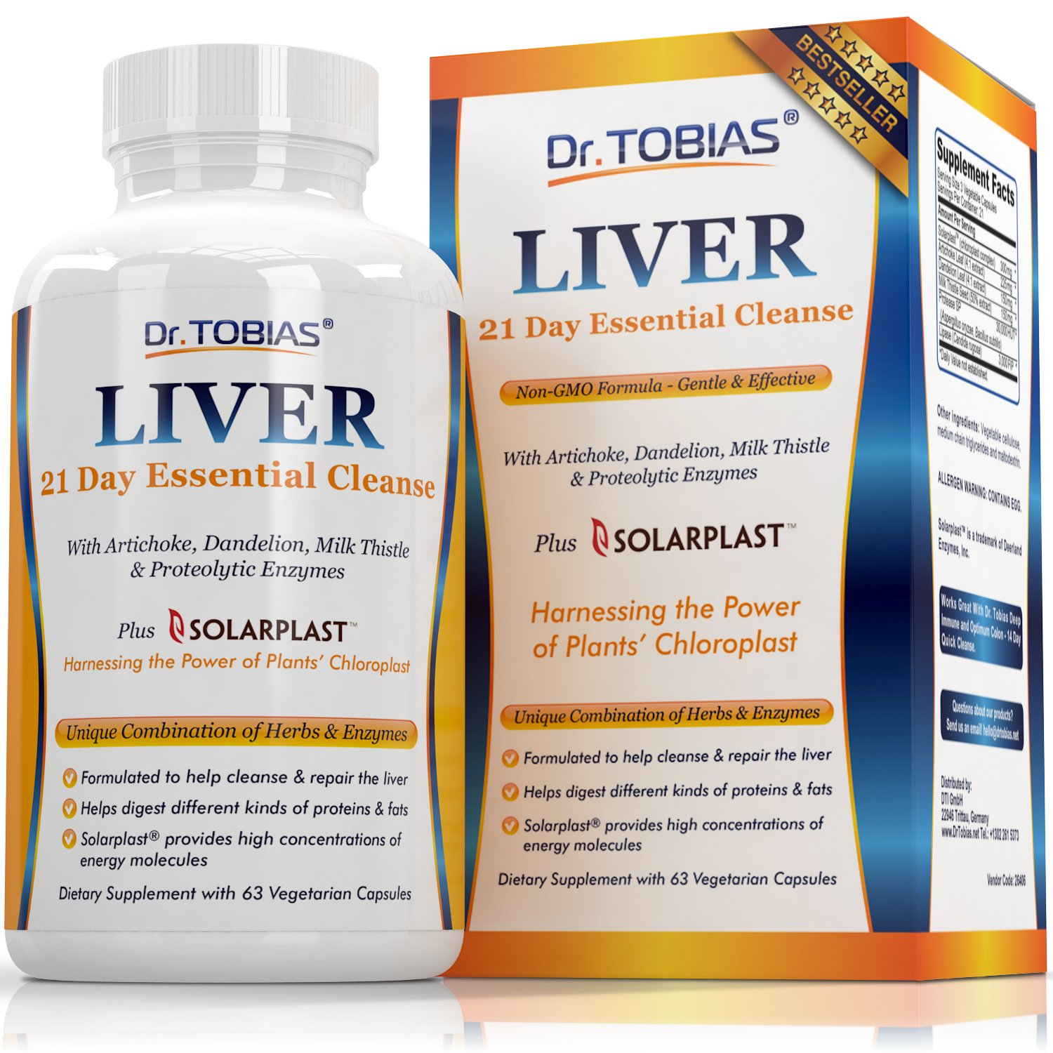 Liver Support Supplement - Cleanse & Detox Pills: Detoxifier & Regenerator - Solarplast, Milk Thistle (Silymarin), Artichoke, Dandelion & Proteolytic Enzymes Help For Proteins & Fats