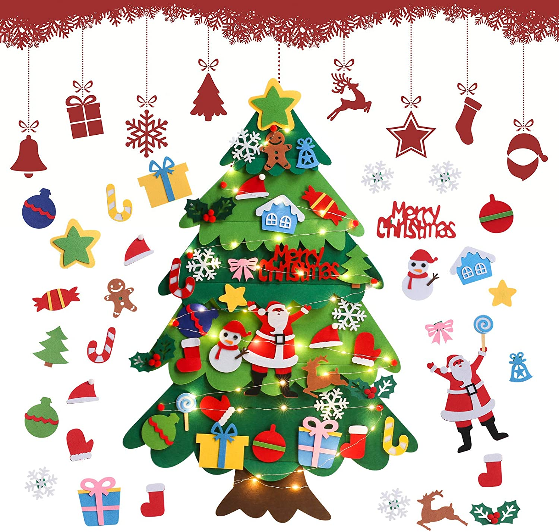 Árbol De Navidad De Fieltro, 3.28ft Fieltro Árbol De Navidad DIY para Pared, Árboles De Navidad Decoración del Hogar con 32 Ornamentos Desmontables, Arbol De Navidad Decoración para Niño Y Bebés
