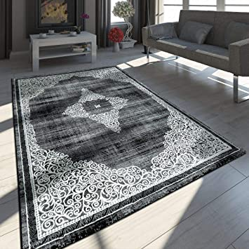 Paco Home Tapis Oriental Moderne Effet 3d Decorations Chine Gris