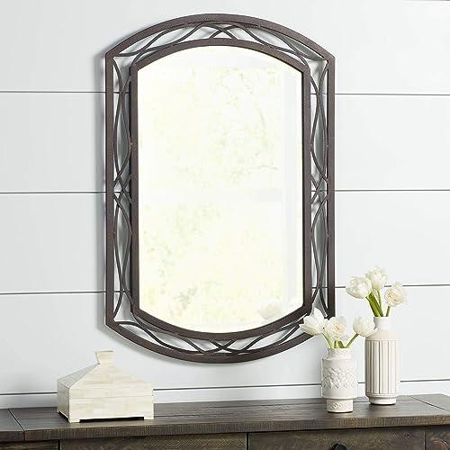 Franklin Iron Works Woven Bronze 24 x 35 1 2 Metal Wall Mirror