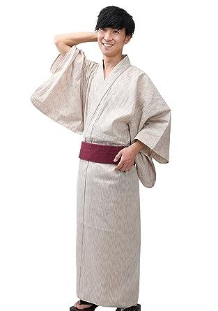 8d1b2a22a Edoten Men's Kimono Japan Shijira Weaving Yukata 752 Beige 753 Wine Obi M