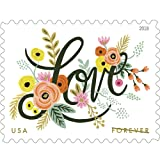 Love Flourishes 5 Sheets of 20 USPS First Class Forever Postage Stamps Wedding Love Valentine 100 Stamps
