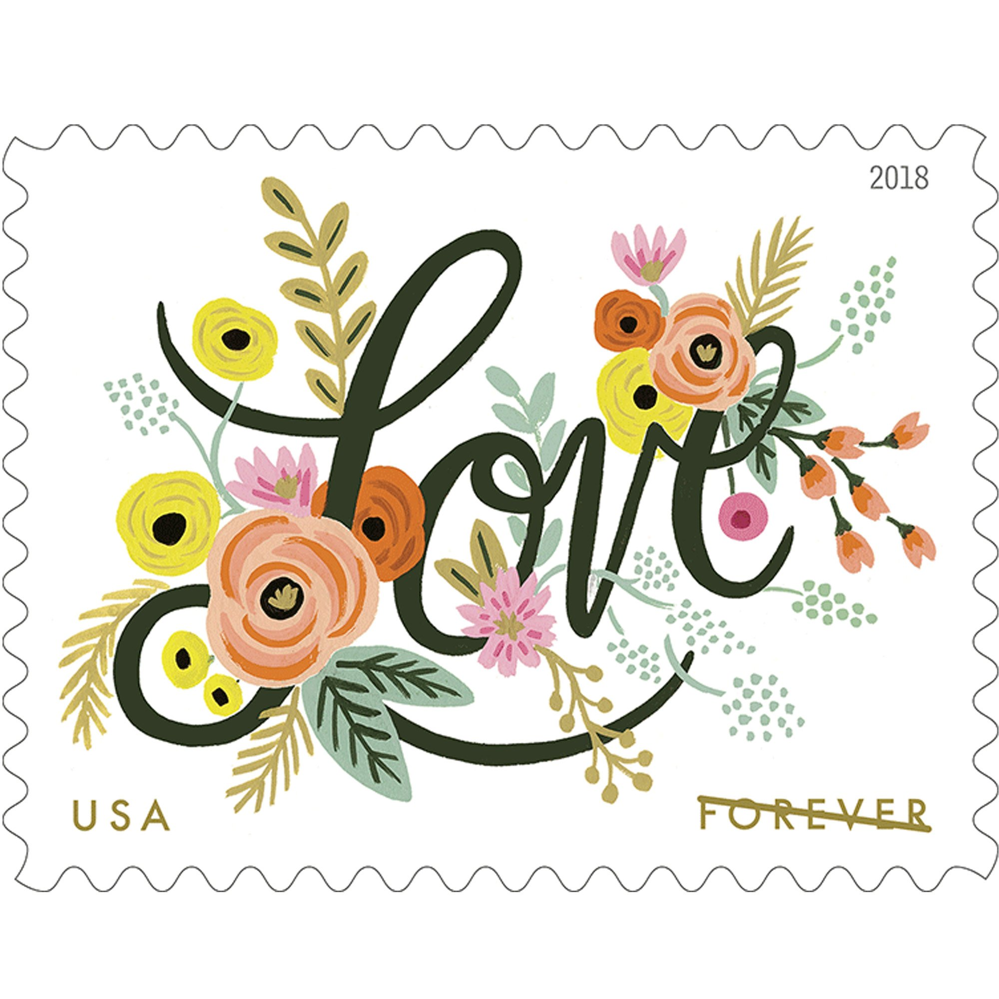 Love Flourishes 5 Sheets of 20 USPS First Class Forever Postage Stamps Wedding Love Valentine 100 Stamps by USPS (Image #1)