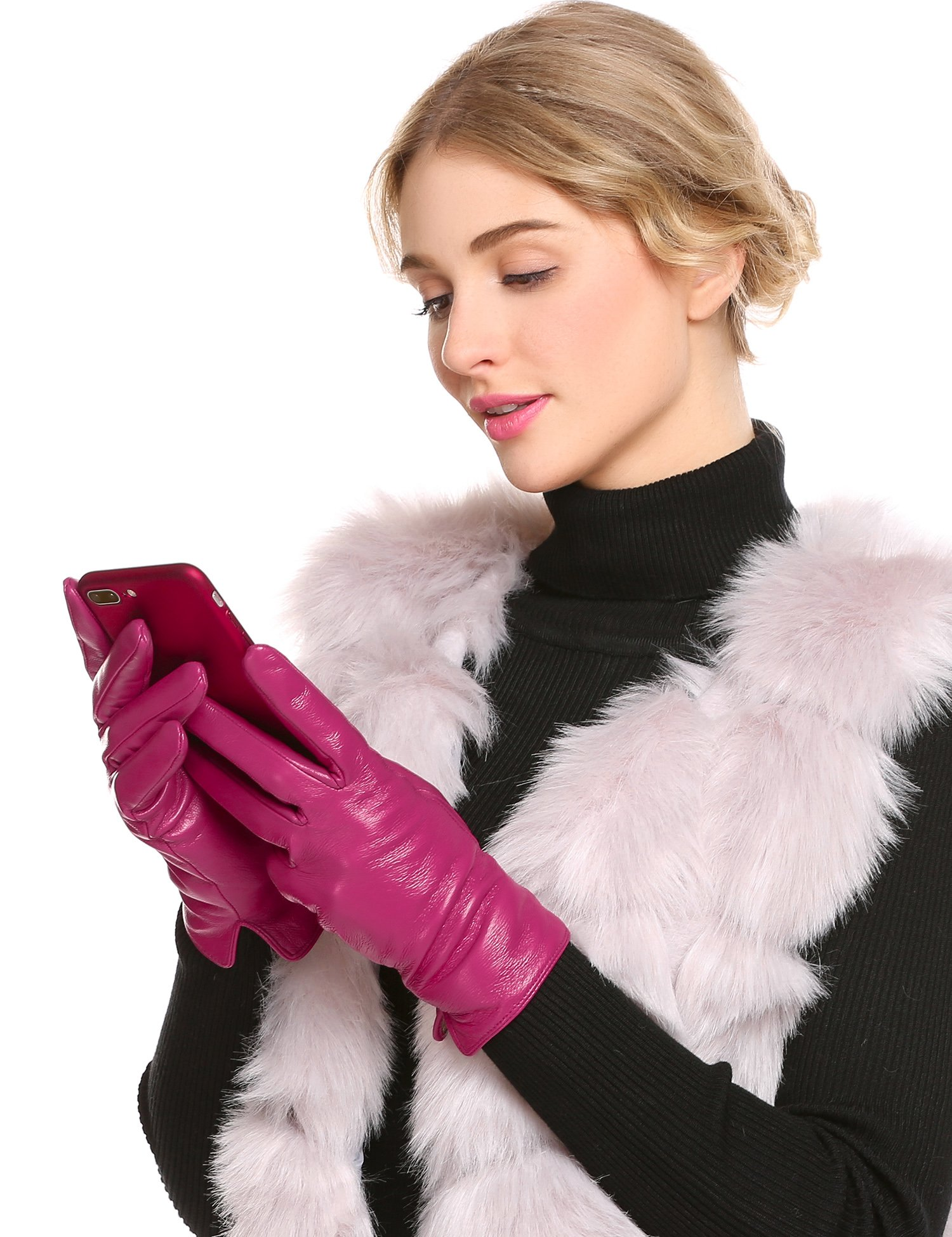 CHIGANT Women Genuine Leather Gloves with Knitted Cashmere Lining (Rose, M)