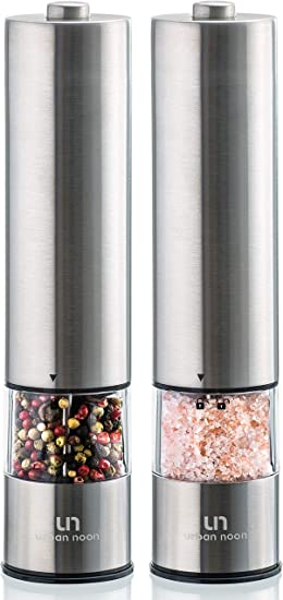 LUCKSTAR Stainless Steel Salt and Pepper Grinders Set of 2 Salt and Pepper Mill Sets with Adjustable Fineness Manual Salt and Pepper Shakers