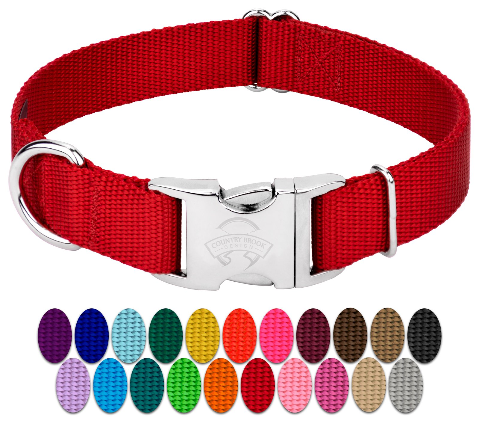 Country Brook Petz - Premium Nylon Dog Collar with Metal Buckle - Vibrant 22 Color Selection (Large, 1 Inch Wide)