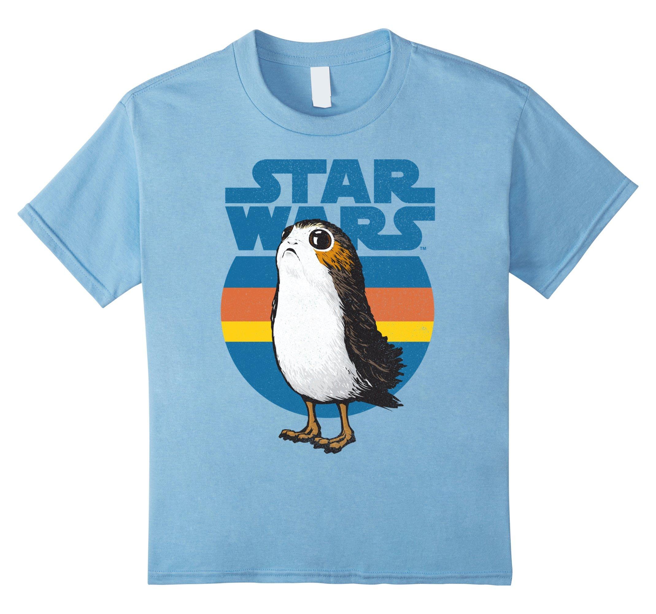 Kids Star Wars Last Jedi Porg Retro Stripes Logo Graphic T-Shirt 8 Baby Blue