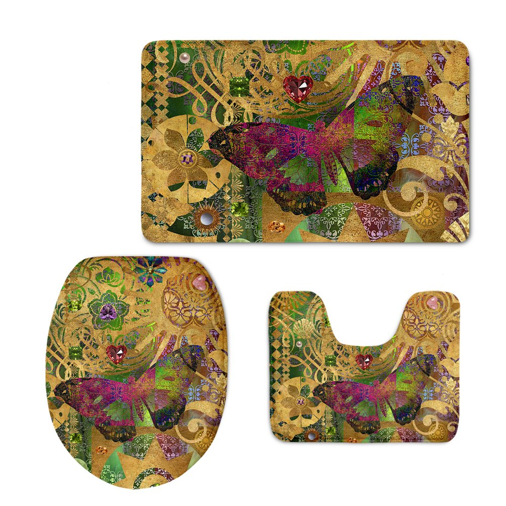 Instantarts Vintage Brown Bathroom Set Butterfly Decorative Bath Rug Contour Mat Toilet Lip Cover by Instantarts