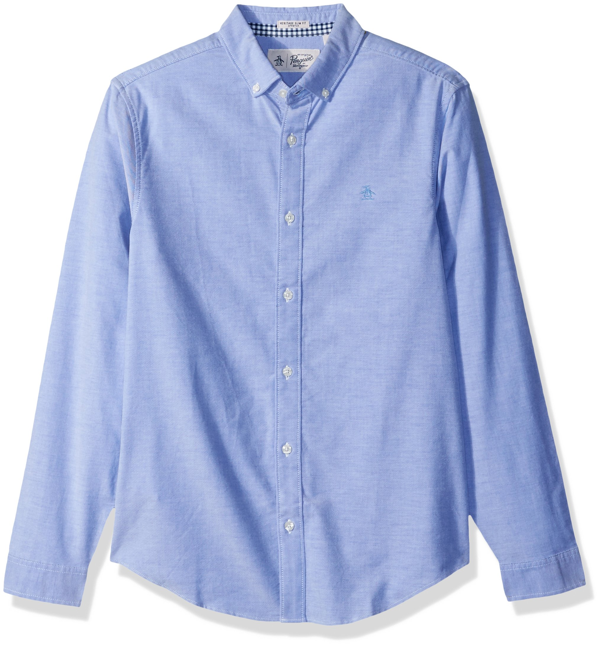 Original Penguin Men's New Long Sleeve Oxford Stretch Shirt, Amparo Blue, Large